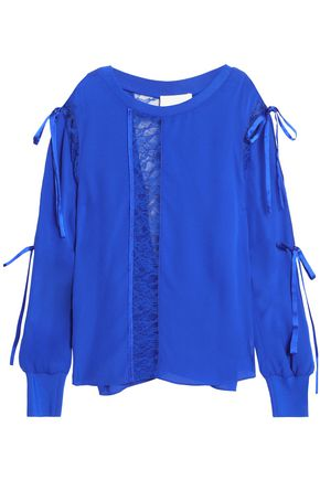 3.1 PHILLIP LIM Lace-trimmed cutout silk-crepe blouse