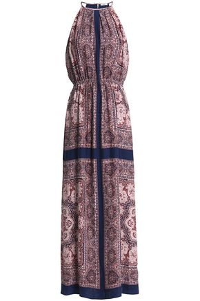 JOIE Gathered printed washed-silk maxi dress
