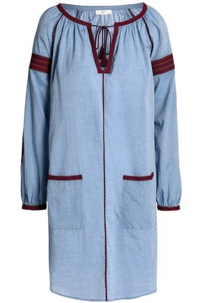 JOIE Embroidered cotton-chambray mini dress