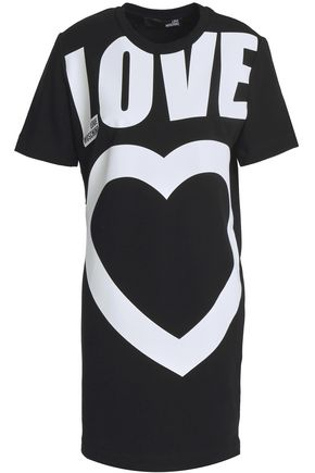 LOVE MOSCHINO Printed French cotton-blend terry mini dress