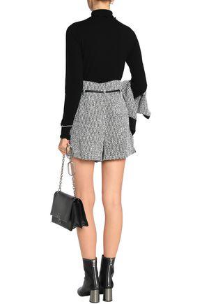 3.1 PHILLIP LIM Faux leather-trimmed bouclé-tweed shorts