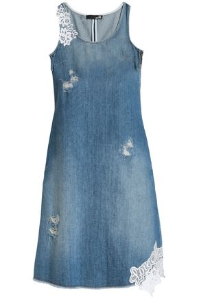 LOVE MOSCHINO Guipure lace-trimmed distressed denim dress