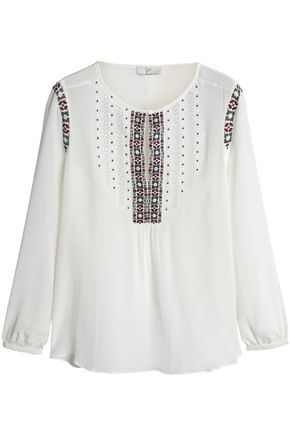 JOIE Embroidered silk crepe de chine blouse