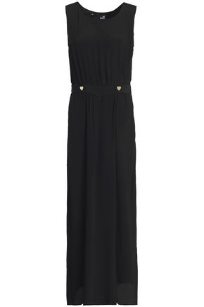 LOVE MOSCHINO Button-embellished crepe de chine maxi dress