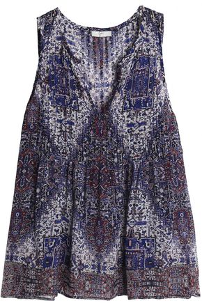 JOIE Pintucked printed silk-georgette top