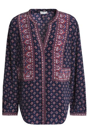 JOIE Printed washed-silk blouse