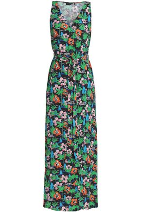 LOVE MOSCHINO Floral-print crepe maxi wrap dress