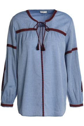 JOIE Marlen embroidered cotton-chambray blouse