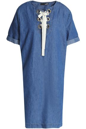 LOVE MOSCHINO Lace-up cotton and linen-blend chambray dress