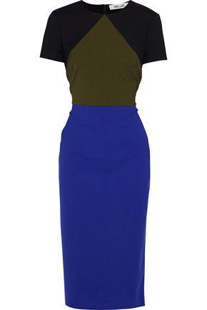 DIANE VON FURSTENBERG Color-block wool-blend dress