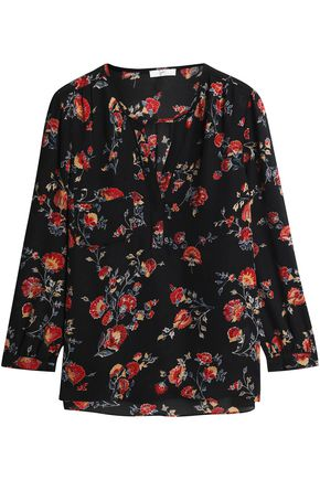 JOIE Gathered floral-print silk blouse