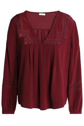 JOIE Crochet-trimmed pleated silk crepe de chine blouse