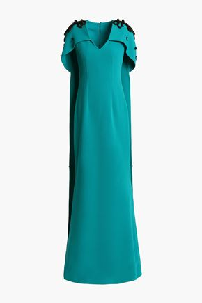 SAFIYAA Cape-effect embellished crepe gown