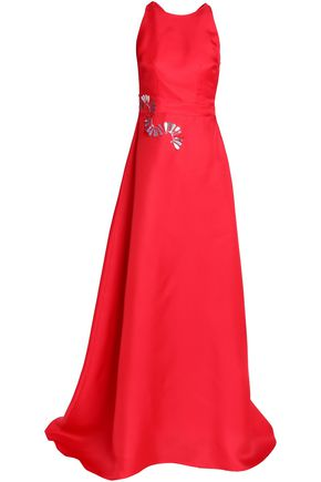 SAFIYAA Flared embellished duchesse silk-satin gown