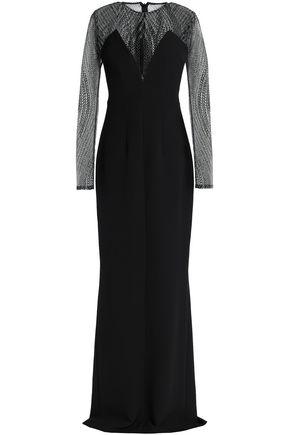 SAFIYAA Lace-paneled crepe gown