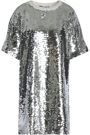 LOVE MOSCHINO Sequined cotton-blend mesh mini dress