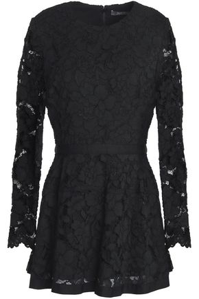 LELA ROSE Grosgrain-trimmed corded lace peplum top