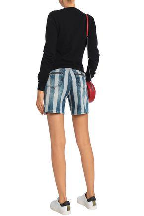 LOVE MOSCHINO Striped denim shorts