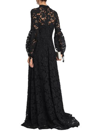 LELA ROSE Grosgrain-trimmed corded lace gown