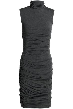 BAILEY 44 Ruched mélange stretch-jersey turtleneck dress