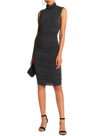 c7e885e1ae4 BAILEY 44 Ruched mélange stretch-jersey turtleneck dress
