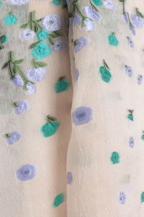 LELA ROSE Floral-jacquard silk-blend organza dress
