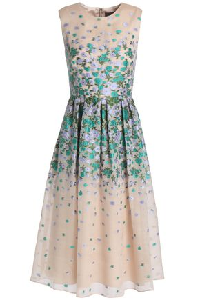 LELA ROSE Floral-jacquard silk-blend organza dress