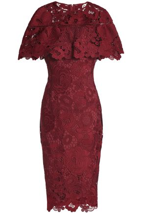 LELA ROSE Ruffled guipure lace dress