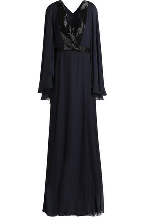 AMANDA WAKELEY Embellished draped crepe gown