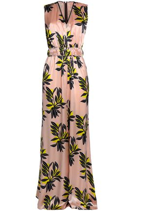 ROKSANDA Gathered printed silk-satin jumpsuit