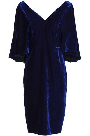BADGLEY MISCHKA Fluted velvet dress
