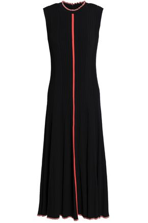 ROKSANDA Cutout pleated knitted midi dress