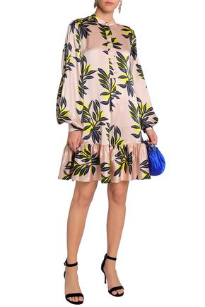 ROKSANDA Ruffled printed silk-satin mini dress