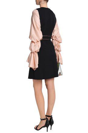 ROKSANDA Gathered twill-paneled silk-blend crepe mini dress