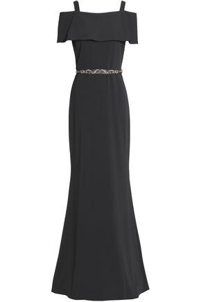 BADGLEY MISCHKA Cold-shoulder embellished cady gown