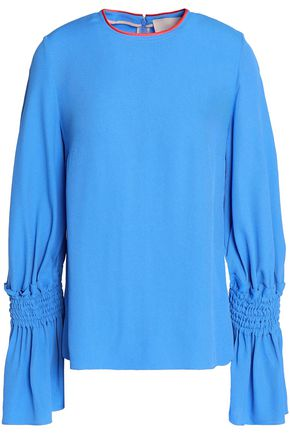 ROKSANDA Satin-trimmed shirred crepe blouse