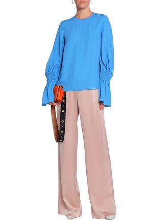 ROKSANDA Satin-trimmed shirred crepe blouse