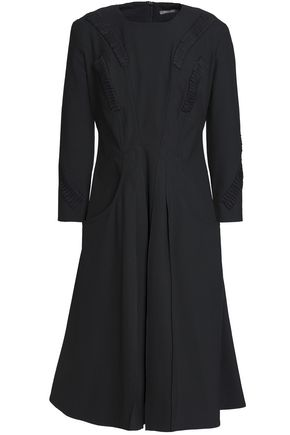 ZAC POSEN Pleated embroidered crepe dress