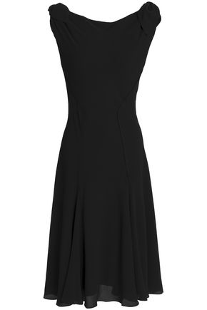 ZAC POSEN Fluted knotted crepe dress