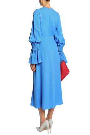 ROKSANDA Fluted shirred crepe midi dress