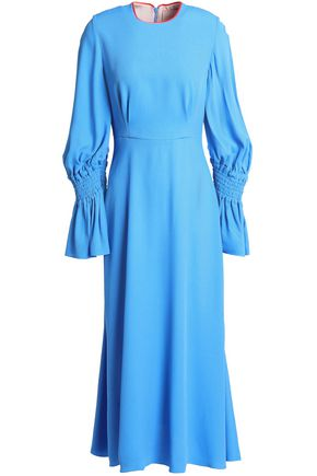 ROKSANDA Fluted shirred crepe midi dress