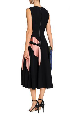 ROKSANDA Fluted satin-paneled silk-blend crepe midi dress