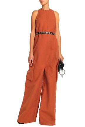 RICK OWENS Cotton and silk-blend fleece jumpsuit