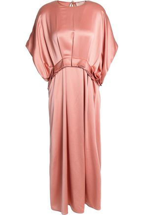 ROKSANDA Draped pleated silk satin-crepe midi dress