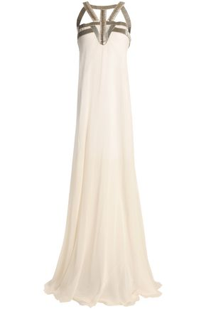 AMANDA WAKELEY Cutout bead-embellished silk-georgette gown