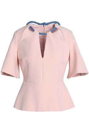 ROKSANDA Cutout crepe peplum blouse