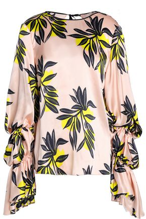 ROKSANDA Gathered printed silk-satin blouse