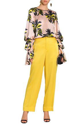 ROKSANDA Gathered printed silk-satin blouse
