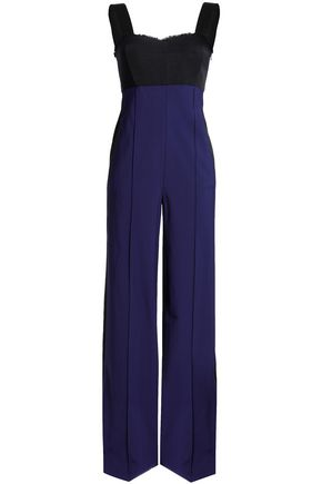 AMANDA WAKELEY Harmony frayed two-tone faille and crepe jumpsuit