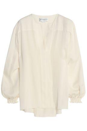 AMANDA WAKELEY Pleated silk crepe de chine blouse
